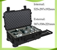 Wholesale trolley waterproof tool case instrument meter box Photographic camera case with pre cut foam External dimensions mm