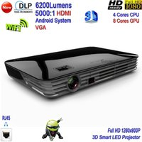 Wholesale 2016 New DLP Lumens High Brightness K Projector D Smart Projector Full HD P Android Home Theater LED Projector