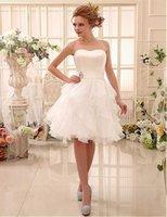 Wholesale 2016 vestido de noiva Sleevesless KneeLength Organza Satin short beach Wedding dress Belt Dresses