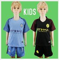 cotton polyester shirts - 16 new Manchester City kids Jerseys DZEKO KUN AGUERO KOMPANY TOURE YAYA DE BRUYNE Home Away kits Shirt