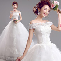 Wholesale Brand new Lace word shoulder bride princess wedding dress Qi Slim white color