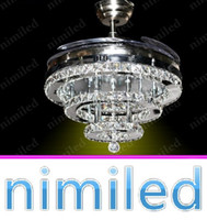 Wholesale nimi934 quot Modern Rings LED Invisible Retractable Crystal Fan Lamp Living Room Lights Restaurant Chandelier Bedroom Pendant Lighting