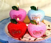 Wholesale 12pcs Apple Candle Wedding Baby Shower Birthday Souvenirs Gifts Favor Packaged with PVC Box