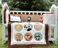 baby fox squirrel - Baby bedding set Embroidery zoo Squirrel Fox animals Cot bedding set Item Crib bedding set Quilt Bumper Cushion Pillow