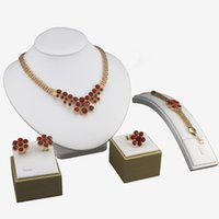 african gems - Trendy K Gold Plated Wedding Gem Zircon Beads Necklaces Bracelet Ring Earrings Women Party Jewelry Sets