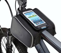 bicycle backpack holder - Bicycle Tube Frame Cycling Pannier Water Resistant Bike Bag inch Mobile Phone Screen Touch Holder