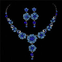beautiful sapphire - Royal Blue Fashion Jewelry Set For Bride Women High Quality Beautiful Statement Necklace and Earring Set