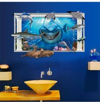 amusement park decorations - Underwater Wall Sticker World Dolphin shark Background Fashion Wall decals amusement park bathroom TV Wall decoration