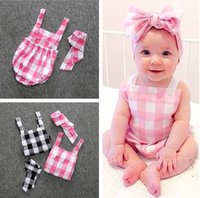 Wholesale Girl Suspende Rompers Plaid Romper With Headband Boy Clothes Kids Clothing Girls Tops Newborn summer clothing