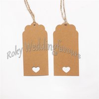 Wholesale cm Rectangle Kraft Gift Tags Paper Tags Wedding Cards Brown Length cm DIY Party Decorations With Twines
