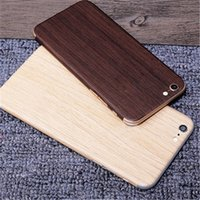 apple design stickers - 50set Luxury Wood Grain Design Full Body Sticker Case Cover For Apple Iphone S SE S Plus P HD Screen Protector Film Retail Package
