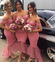 Wholesale New Design Nigeria Pink Bridesmaid Dresses Off Shoulder Mermaid High Low Formal Maid of Honor Wedding Guest Party Gowns Cheap Custom