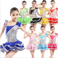 Wholesale 8 Colors Kids Sequined Ballroom Latin Dancwear Dress Girls Performance Salsa daning dress Children s Latin Professional Dancing Costumes