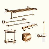 bathroom hardware sets - European style antique towel rack Space aluminum Retro Soap Dishes wall mounted Bathroom hardware accessories sets J16542