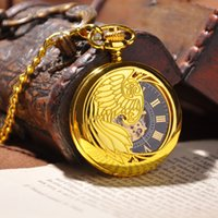 antiques phoenix - Luxury Gold Phoenix Carved Pendant Half Hunter Mechanical Hand Wind Pocket Watch Fashion Antique Roman Numbers Watch Box