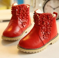 Wholesale 2016 baby shoes Winter Toddler Baby Boot Korean Flower Thicken Warm Girl Pirncess Snow Boots Good Quality Pu Leather Small kid girls boots
