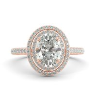 moissanite ring - 3 ct Oval C C Classic Moissanite Diamond Halo Engagement Ring k R Gold