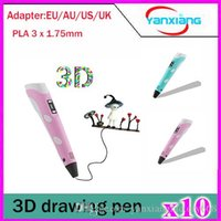 Wholesale 10pcs D Pen D Printing Pen stereoscopic Pen d printer drawing pen With x mm PLA Filament Blue pink YX DY