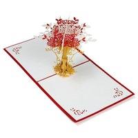 Wholesale New Lovely Flowerpot Kirigami DIY D Pop Up Laser Cut Artesanato Origami Paper Crafts Arts Birthday Greeting Card Postcards