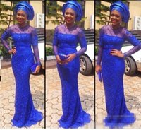 african style art - 2016 African Royal Blue Evening Dresses with Long Sleeves Nigerian Aso Ebi Styles Lace Mermaid Party Evening Gowns Formal Dresses