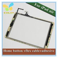 Wholesale For iPad Air iPad Digitizer Assembly Touch Screen Glass Panel Tactil Ecran Replacement Original Home Button Flex Camera Holder Adhesive