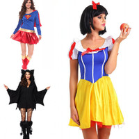 Wholesale New Arrival Halloween Costume Superhero Cosplay Sexy Fancy Dress Snow White Cosplay Black Batman Anime Costumes Gown Clothes for Grils