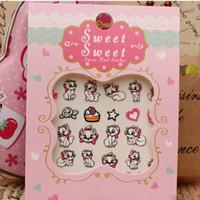 Wholesale 2Pcs Nail Stickers Japanese Harajuku Cartoon Cute Stickers D Nail Art Decorations Supernatural Cat Mustache Eye Smiling face