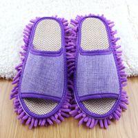 Wholesale 2 Pair Women Men Dust Floor Cleaning Home Slippers Shoes Mop Unisex pantuflas Multifunction House Clean pantoufle femme