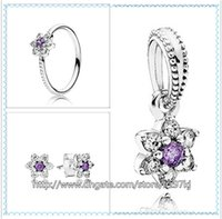 Cheap 925 Sterling Silver Ring & Earrings and Jewelry Charms Pendant Sets with Box Fits European Jewelry Bracelets & Necklaces- Forget Me Not