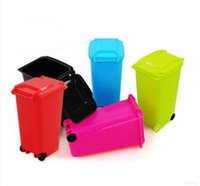 Wholesale New Mini Wheelie Bin Desk Tidy Office Desktop Stationery Organiser Pen Pencil Holder Colors Drop Shipping