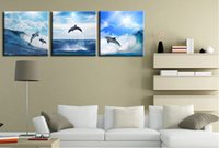 beautiful group - 2016 new arrival especially provide more group painting the dolphins jump three beautiful panoramic view of the canvas print on the canv