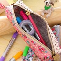 beauty simplicity - Rectangular Pen Bag Wind Elegant Beauty Simplicity Canvas Lace Floral Pencil Bag Pencil Case Colors