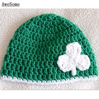 autumn kelly baby girl - St Patrick Day Hat Handmade Knit Crochet Baby Boy Girl Kelly Clover Hat Kids Winter Beanie Infant Toddler Photo prop