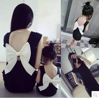 adult mermaid outfit - 2016 Summer Family Look Matching Mother Daughter Girl Clothes Outfits Mom And Daughter Dress Bow Backless Black Dresses Hot Oversea