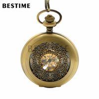 Wholesale BESTIME Watch Hollow cut Antique Bronze Look Mechanical Movement Half Hunter Pocket Watch Arabic Numeral Mens Gift