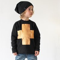 Wholesale INS kids GOLD Cross T Shirts children boy lady t shirt print long sleeve autumn shirt top