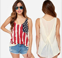 american flag t shirt women - 2016 New fashion American flag printed stitching back chiffon knitting fold sleeveless T shirt female vest AAK082