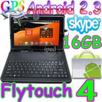 Wholesale 2pcs Flytouch GB Android tablet pc GPS Camera X220 amp leather keyboard case christmas