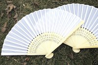 Wholesale weddng gift plain silk bamboo fan folding hand fan