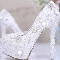 amazing platform shoes - 2016 White Pearl Crystal Bridal Wedding Heels Debutante Ball Party Shoes High heeled Rhinestone Platform Amazing Prom Pumps