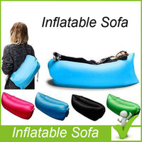 Wholesale 12 Colors Fast Inflatable Sleeping Bag Seconds Quick Open Lazy Sleeping Bed Folding Sofa Beach Sleep Bed Outdoor Camping Air Sleep Sofa