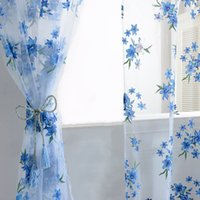 Wholesale New Design Voile Window Sheer Curtains M Color Flowers Tulle Voile Door Curtains Drape Panel Sheer Scarf Valances JI0134