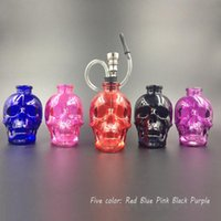 Wholesale creative Skull Glass Hookah Smoking Pipes Filter cigarette hookahs Skull design shisha glass pipes colors