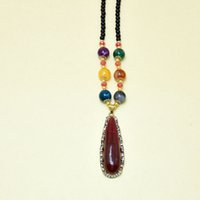 bead nacklace - Gemstone Pendants for women with bead nacklace Fashion Statement Necklaces and Women Jewelry