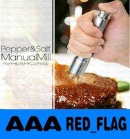 Wholesale Stainless Steel Thumb Push Salt Pepper Grinder Spice Sauce Mill Grind Stick Tool LLFA1013