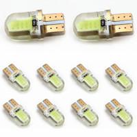 achat en gros de lumière fil jaune-10pcs T10 194 168 W5W COB 8 LED SMD Silicon Car Auto Wedge Side Marker Licence Lampe de gros de l'ampoule