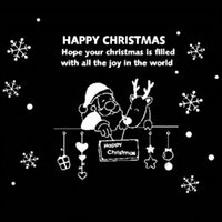 santa blackboard decoration - Santa Claus reindeer Snow FlowerMerry Christmas New Year Wall Stickers Glass sticker Window Home Decoration Xmas Gift