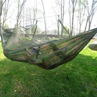 Wholesale Hot Selling Portable Hammock Single person Folded Into The Pouch Mosquito Net Hammock Hanging Bed For Travel Kits Camping Hiking