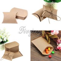 Wholesale 50Pieces New Style Kraft Paper Pillow Shape Wedding Favor Gift Box Party Favour Candy Box