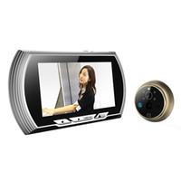 Wholesale 4 quot LCD Color Screen Doorbell Viewer Digital Door Peephole Viewer Camera Door Eye Video Record Degrees Night Vision Silver Color